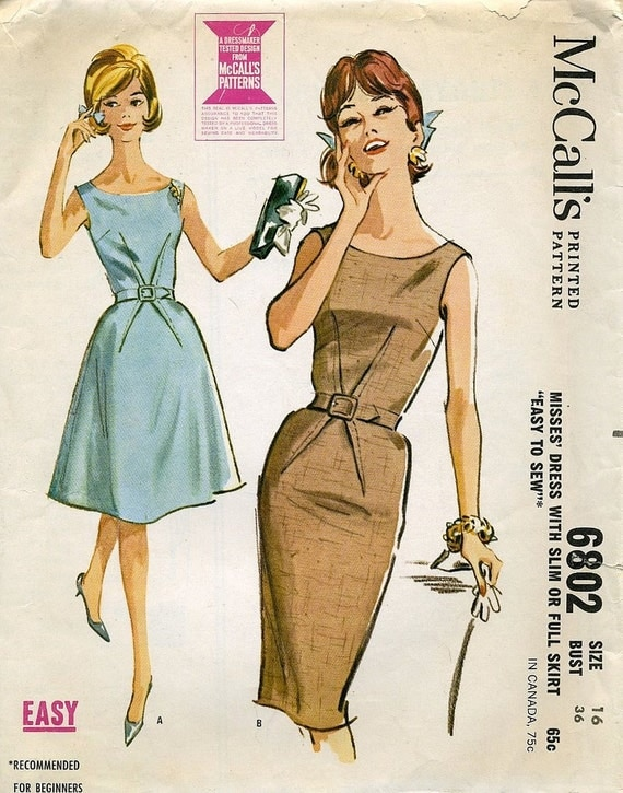 Vintage McCall's Dress Pattern 6802 Misses' Size 16