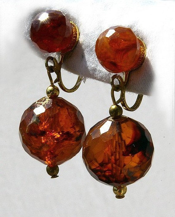 Dangling Amber Clip Earrings - free shipping
