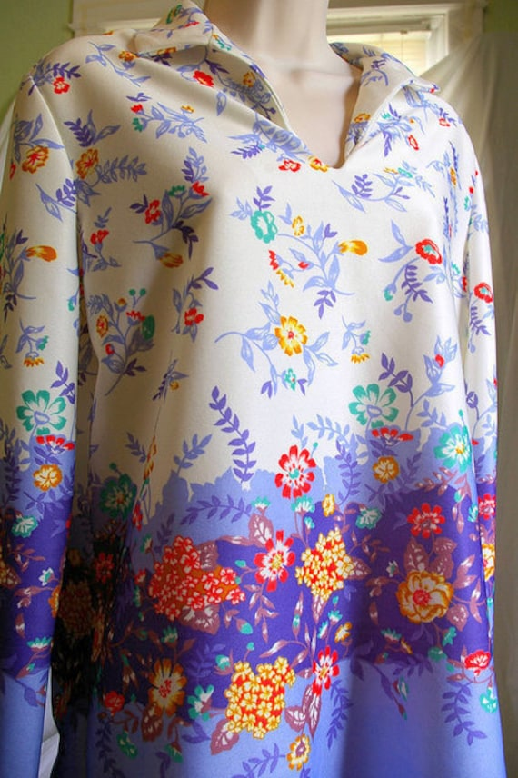 2 Piece Hippy Polyester Blouse with Pleated Skirt