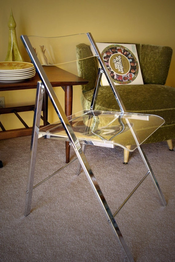 Vintage Chrome and Lucite Folding Chair by 51VC on Etsy