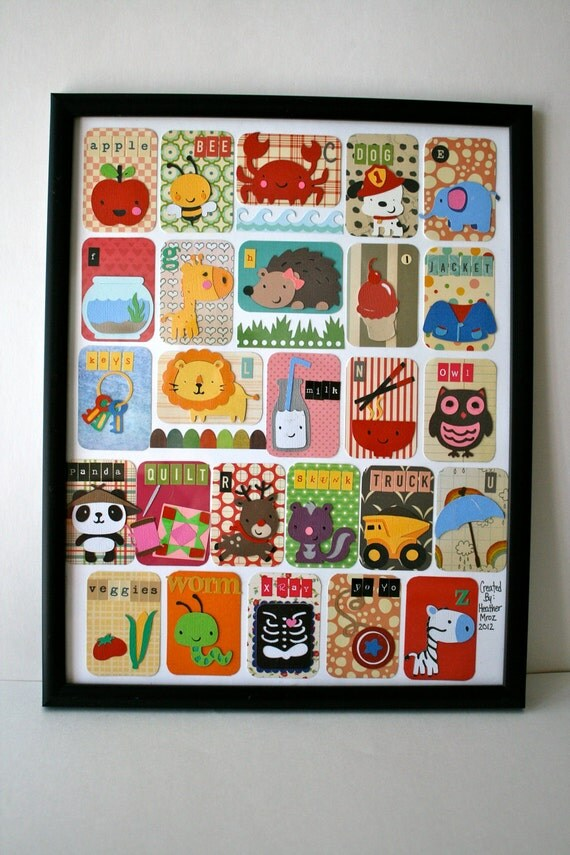 Alphabet cards put together as a set and attached to an artists quality piece of paper.
