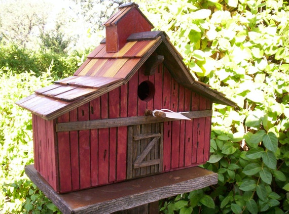 Items Similar To Old Stained Cedar Barn Bird House 3935 On