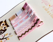 Light pink and brown no slip clips - set of 5