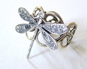 Steampunk, Petite silver DRAGONFLY RING