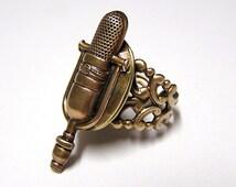 Retro MICROPHONE Locket Ring