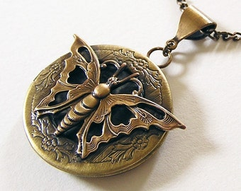 Victorian MOTH Locket, Necklace Pendant