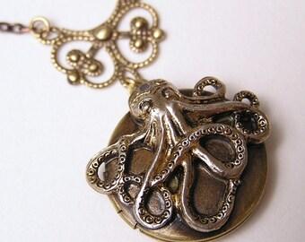 Steampunk OCTOPUS LOCKET, Necklace Pendant, Victorian