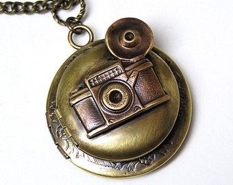 Double Retro Camera photo Locket, photographer, Necklace Pendant
