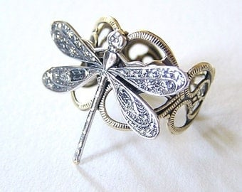 Petite silver DRAGONFLY RING