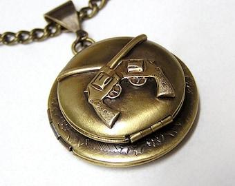 Double GUNS Locket, Necklace Pendant