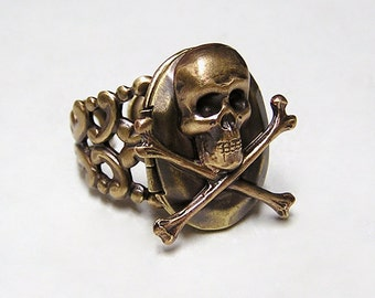 Pirate Skull Locket Ring