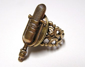 Retro MICROPHONE Locket Ring