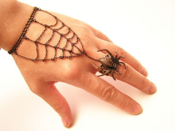 Gothic Steampunk BLACK SPIDER RING with Webbing bracelet , Halloween