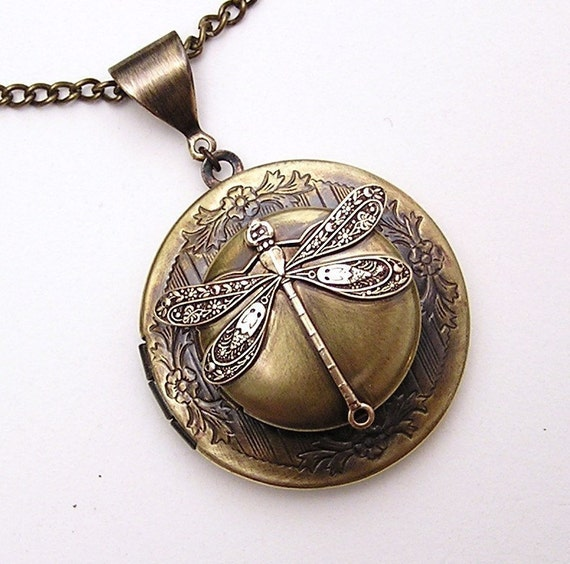 Steampunk double DRAGONFLY LOCKET, Necklace Pendant, Vintage