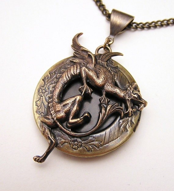 RESERVE For Carly, Steampunk DRAGON LOCKET, Necklace Pendant
