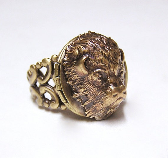 Reserve for Maria, American BUFFALO Locket Ring, Adorable