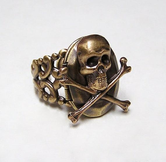 Pirate Skull Locket Ring