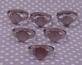 12pcs SILVERTONE Rings With 10mm Flat Pad -  AUSTRALIA