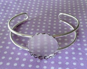 1pc Silver Plated Cuff Bracelet with Bezel to Suit Size 36 Covered Buttons - AUSTRALIA