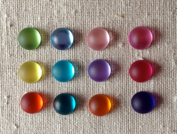 24pcs 10mm Round Colored Flat Back Cabochons for Craft and Jewlery Making  - AUSTRALIA