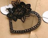 Chic Black Lace Heart Shape Appliques, Flower -(1 in a set)