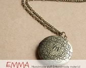 Antiqued Brass Etched Locket Necklace