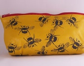 Busy Bees Make up bag in yellow leather