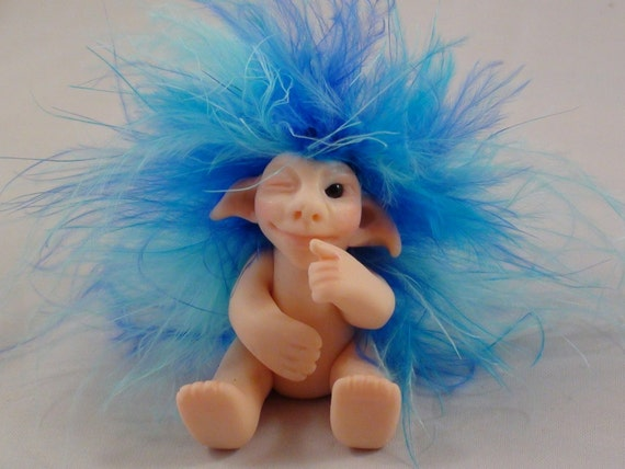 Charlie, The Winking Troll, Polymer clay Art Doll, OOAK