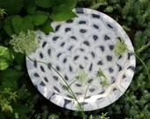 Concrete Bowl or Bird Bath in White, Black, and Gray