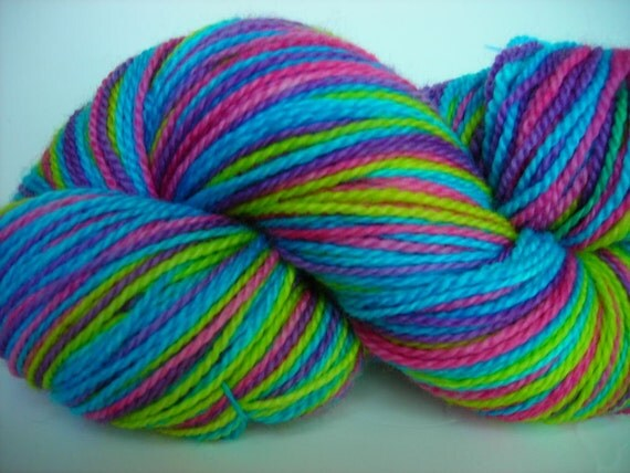 June Stripes Self-striping Superwash Merino Sock Yarn -- Purple, turquoise, lime, and pink
