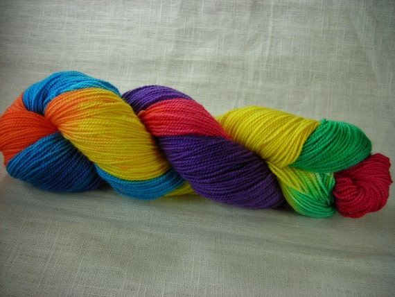 Clown Barf Hand-Painted Superwash Merino and Nylon Blend Figering Weight Sock Yarn -- Red, Orange, Yellow, Green, Blue, Purple
