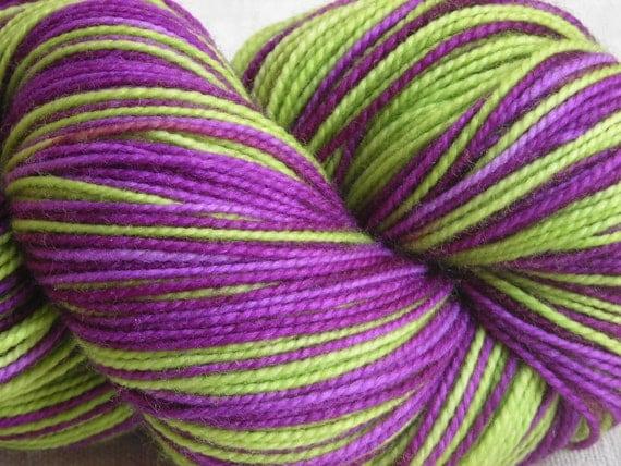 Self-Striping Green and Purple Superwash Merino and Nylon Blend Sock Yarn, Fingering Weight