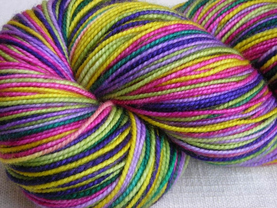Lavender, Bright Pink, Purple, and Chartreuse Self-Striping Merino and Silk blend Sock Yarn --Julianna