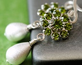 Olive Green Swarovski Flowers with Brushed Silver Teardrops - Earrings