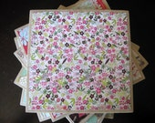CLEARANCE - Small Floral Print Ceramic Tile Trivet/Large Coaster
