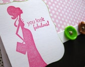 you look fabulous - Expecting Mother Baby Girl Eco-Friendly Handmade Card