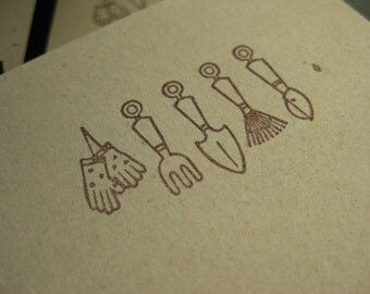 Garden Tools/Gloves Mini Notecards - Set of 4