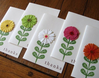 Glittering Zinnia Flowers with thanks notecards - Set of 5 - Handmade notecards
