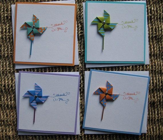 Colorful Pinwheel Thank You Cards - Set of 4