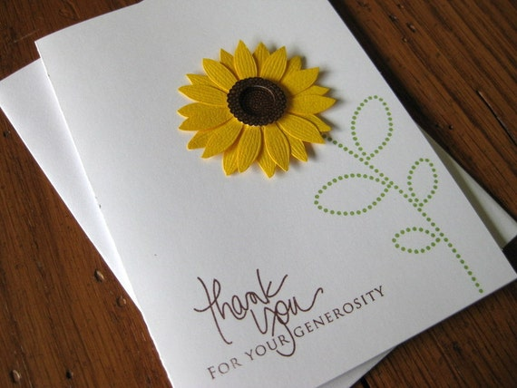 Thank You for your Generosity with Sunflower Embellishment Notecards - Set of 5