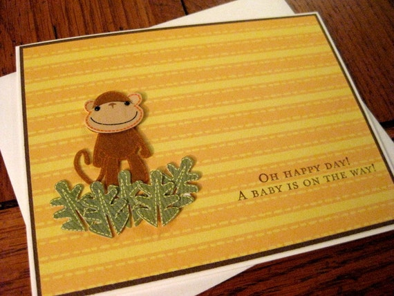Oh Happy Day A Baby is on the Way with felted brown monkey in leaves handmade greeting card