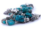 Turquoise and Sterling Silver Multi Strand Necklace