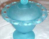 Vintage Blue Candy Dish  with Lid and frosted