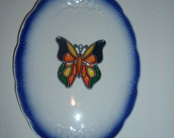 home made plate with leaded stain glass butterfly wall hanging