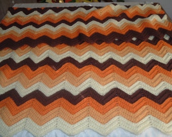 vintage homemade crochet afghan  throw