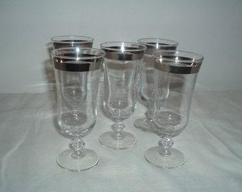 vintage crystal stemware with silver rim