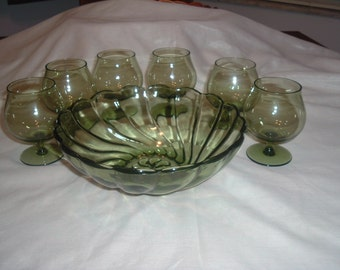 Emerald Crystal Stemware - Set of 6 - Vintage Handblown Glass and matching bowl