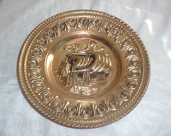 vintage brass wll hanging plate