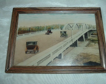 PICTURE of OLD TIME Cars On a Bridge