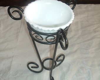 Wrought Iron Milk Glass Candle Holder